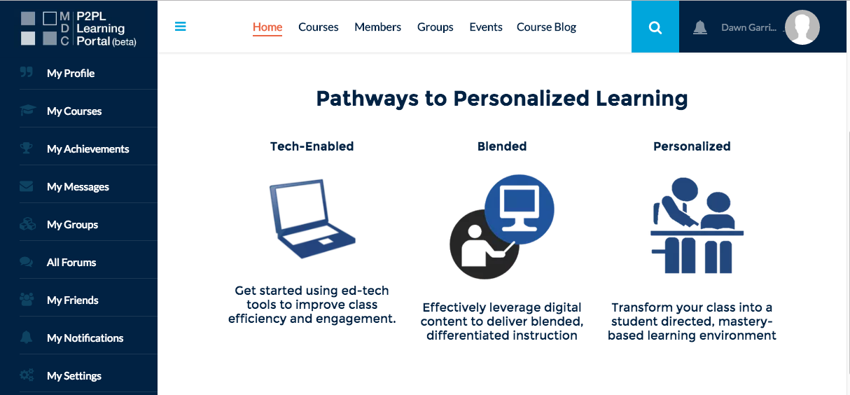 Paths to Personalized Learning online course portal